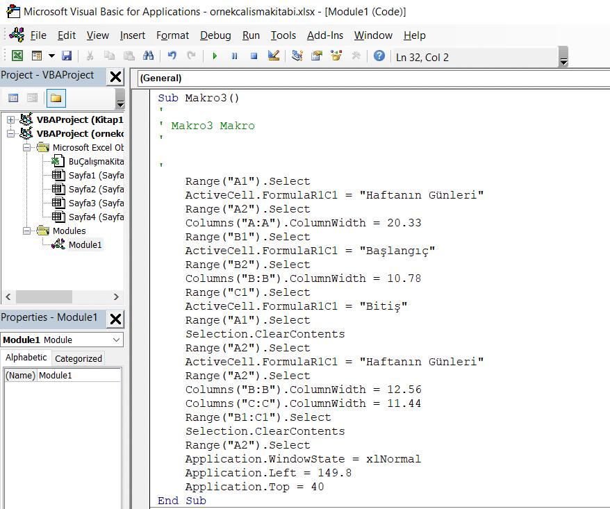 visual basic for applications editör